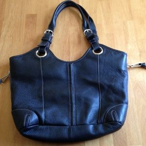 Large Tignanello Black Leather Tote